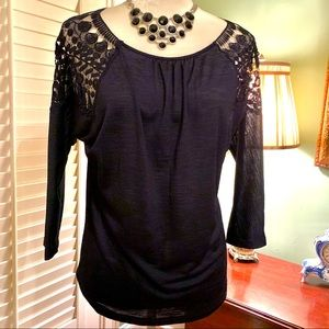New York and Company Blue Lace Shoulder Blouse